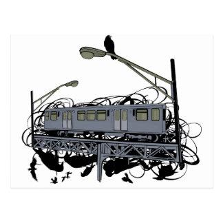 Cartão Postal Trem ilustrado & corvos do EL