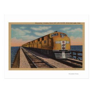 Cartão Postal Trem que cruza Great Salt Lake, Ogden, Utá