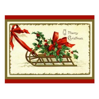 Cartão Postal Trenó dourado do Natal do vintage