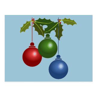 Cartão Postal Três bolas de suspensão do Natal