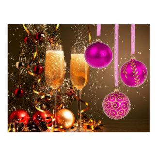Cartão Postal Três bolas roxas com Champagne