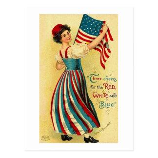 Cartão Postal Três elogios para o branco vermelho e azul