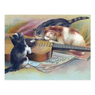 Cartão Postal Três gatinhos e uma ilustração do vintage da