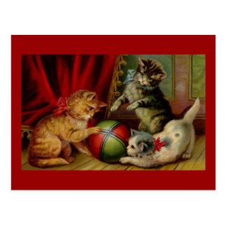 Cartão Postal Três gatos e bolas de gato malhado