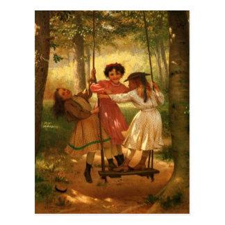 Cartão Postal Três meninas em um balanço