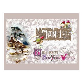 Cartão Postal Três pássaros pequenos Tweet o ano novo