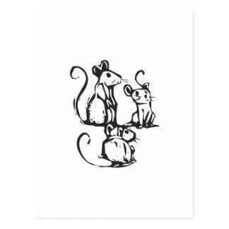Cartão Postal Três ratos