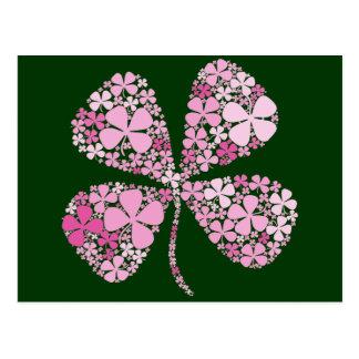 Cartão Postal Trevo cor-de-rosa infinita afortunado
