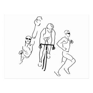 Cartão Postal Triathlon do funcionamento da bicicleta da natação