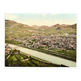 Cartão Postal Trient, vista geral de S.W., Tirol, Austro-Huno