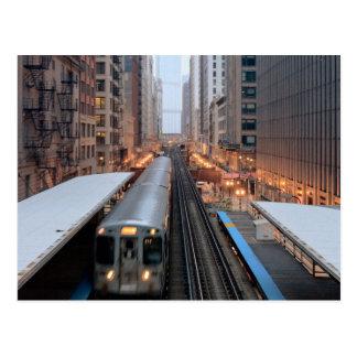 Cartão Postal Trilho elevado em Chicago do centro sobre Wabash