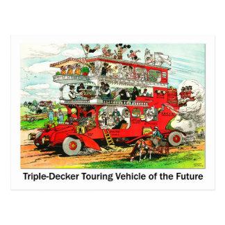 Cartão Postal Triplo-ponte que visita o veículo do futuro