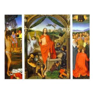 Cartão Postal Triptych de Hans Memling- da ressurreição
