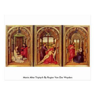 Cartão Postal Triptych do altar de Marie por Rogier van der