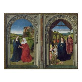 Cartão Postal Triptych que mostra o aviso