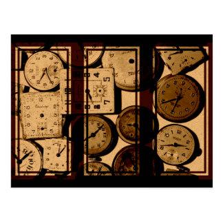 Cartão Postal Triptych velho do relógio