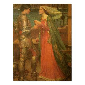 Cartão Postal Tristan e Isolde pelo Waterhouse, belas artes do
