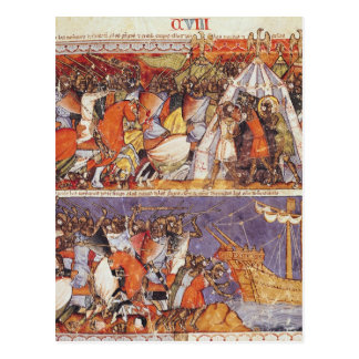 Cartão Postal Trojan que invadem o acampamento grego