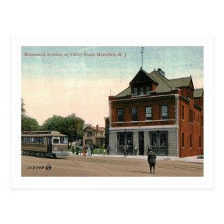 Cartão Postal Trole, Montclair, vintage de New-jersey