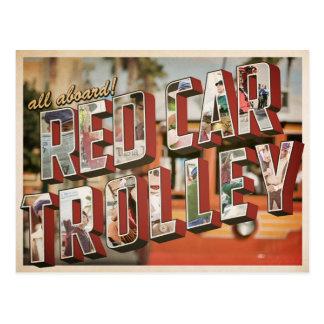 Cartão Postal trole vermelho do carro
