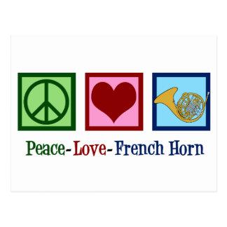 Cartão Postal Trompa francesa do amor da paz