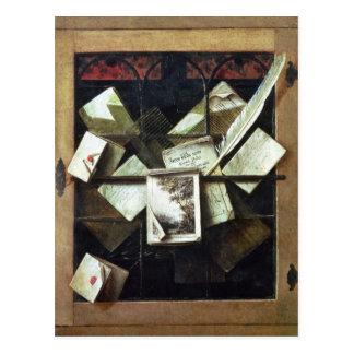 Cartão Postal Trompe - l ' oeil com letras e cadernos, 1665