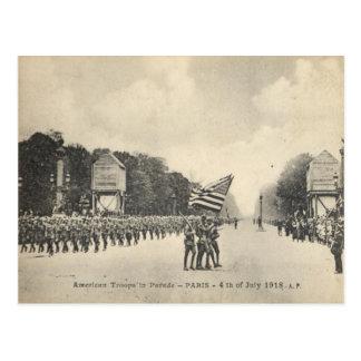 Cartão Postal Tropas americanas em Paris, o 4 de julho de 1918