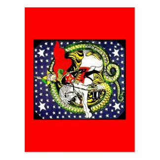 Cartão Postal trotsky massacrando o dragão revolucionário