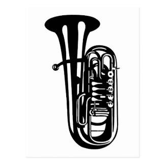 Cartão Postal Tuba do instrumento musical - design dos músicos