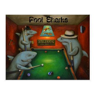 Cartão Postal Tubarões da piscina com rotulação