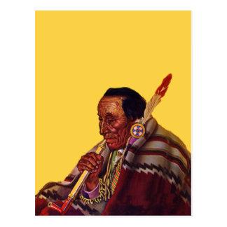 Cartão Postal Tubulação de paz do guerreiro do nativo americano