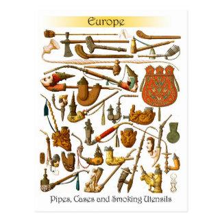 Cartão Postal Tubulações, casos e utensílios europeus de fumo