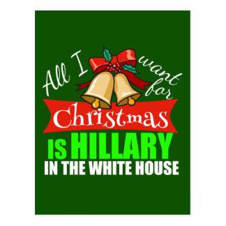 Cartão Postal Tudo que eu quero para o Natal é Hillary