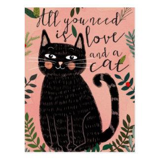 Cartão Postal Tudo que você precisa é amor… E um gato