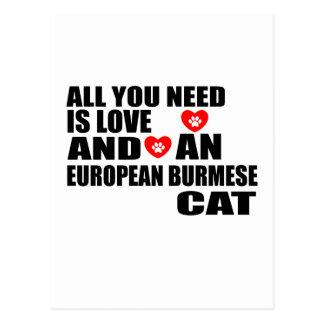 CARTÃO POSTAL TUDO QUE VOCÊ PRECISA É DESIGN EUROPEU DO CAT