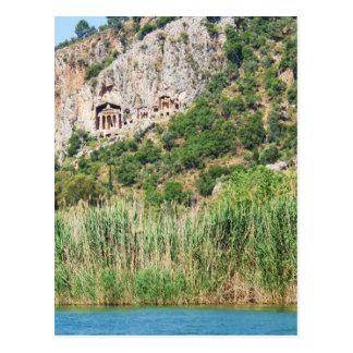Cartão Postal Túmulos da rocha de Lycian, Dalyan, Turquia