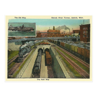 Cartão Postal Túnel de Detroit River do vintage