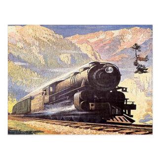 Cartão Postal turismo locomotivo retro do vintage do trem de