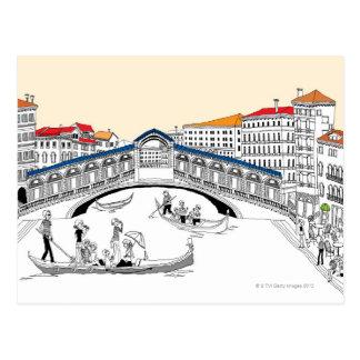 Cartão Postal Turista que viaja nos barcos