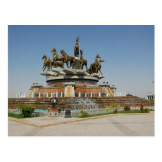 Cartão Postal Turkmenistan - Ashgabat - Horses Fountain