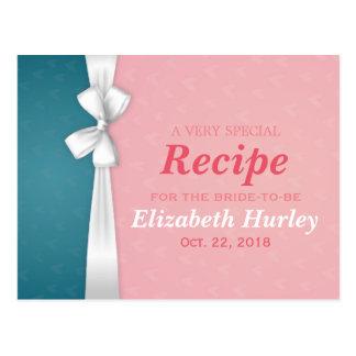 Cartão Postal Turquesa cor-de-rosa & receita branca do chá de