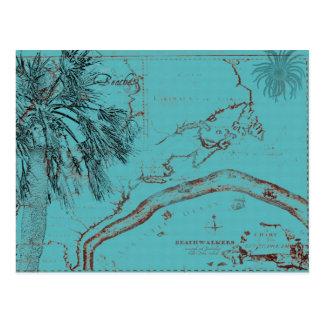 Cartão Postal Turquesa da colagem do mapa do oceano do vintage