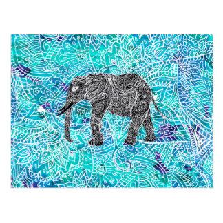 Cartão Postal Turquesa do azul do elefante do boho de paisley da