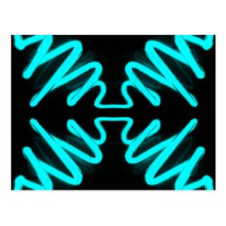 Cartão Postal Turquesa do néon da arte & do design de