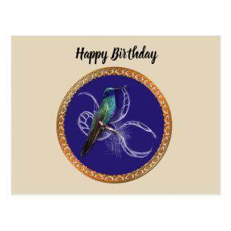Cartão Postal Turquesa verde e azul com colibri roxo