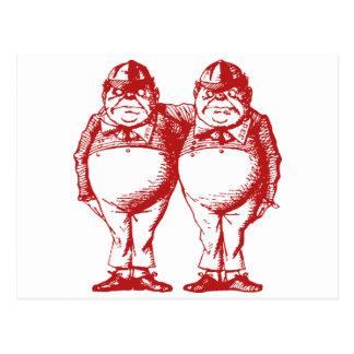 Cartão Postal Tweedle Dee e Tweedle o vermelho coberto Dum