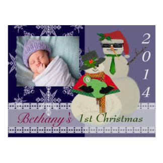 Cartão Postal U escolhe Natal do ø bebê do boneco de neve da cor