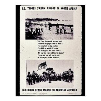 Cartão Postal U.S. Enxame das tropas em terra no Norte de