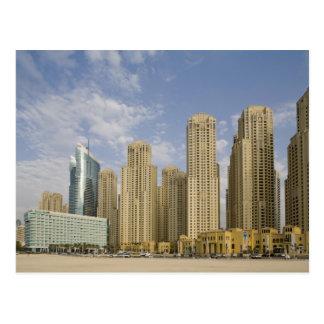 Cartão Postal UAE, Dubai, porto. Residência da praia de Jumeirah