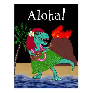 Cartão Postal Ukulele havaiano do dinossauro